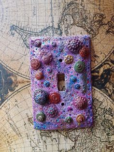 Boho Light Switch Cover Bohemian home decor Wall art OOAK