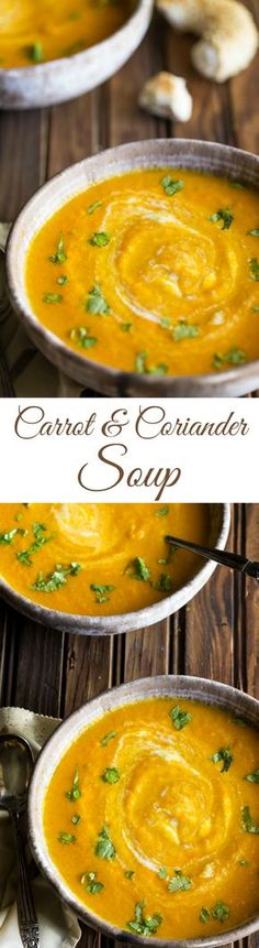 Carrot and Coriander Soup recipe, a delicious spin on regular old carrot soup, it's perfect for Fall! Gluten Free Vegetarian Vegan Paleo Primal