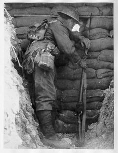 English soldier watches the no man's land. Somme 1916.