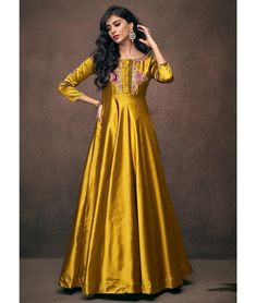 45d013f133 Designer Triva Satin Embroidered Gown In Mustard