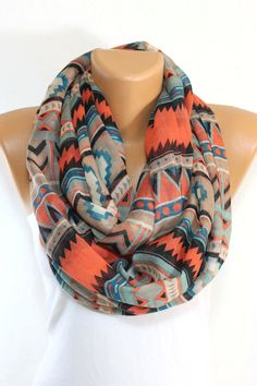 PRE-ORDER Standout Southwestern Infinity Scarf Tribal Scarf Aztec Scarf Native Chevron Scarf Winter Scarf Women's Fashion Accessories Gift