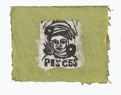 Pisces card, lino print on handmade paper by Jennifer Kunin www.etsy.com/shop/JenniferKuninStudio