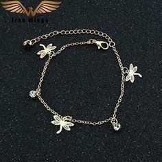 Cute Multiple Charm Gold Bohemian Anklet Rose/Leaves/Butterfly/Dragonfly/Hand Palm