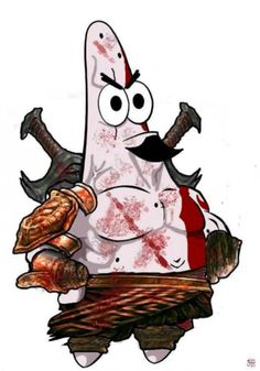 Reddit user Halvorsen320 posted this Spongebob Squarepants Patrick God of War inspired art #Fun #Gaming