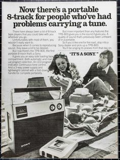 """Sony TPB-800 8-Track Tape Player Ad from 1977 by VintageVirtus Great disco-era advertisement from a magazine that would look great in your home or office. Retro 1-panel black-and-white ad features a 1977 Sony TPB-800 portable 8-track tape player. Because of its age, there is slight discoloration and edge wear. Panel measures approximately 8""""W x 11""""L. Shipped in protective sleeve and cardboard protector."""