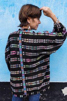Guatemalan Kimono Created from Vintage Handwoven Ikat Corte/Skirt Guatemalan Textiles, Ikat, Hand Weaving, Kimono, Vintage, Kimonos, Weaving