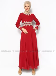 Laced Evening Dress - Red - Sevilay Giyim