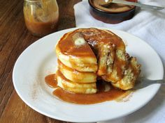 Sweet Surprise Gluten-Free Snickerdoodle Pancakes with Snickerdoodle Syrup #glutenfree