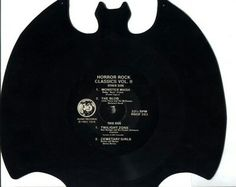 """Bat-shaped real, working custom vinyl record (four-song album, grooves surround the label, """"Horror Rock Classics, Vol. II,"""" NOT the Batman soundtrack) developed for a client by the Erika Records vinyl record company in Buena Park, California. #Vinyl #VinylRecords #music #OldSchool #records #albums #fun #horror #movies #movie #rock #oldies #bats #Gothic #HorrorMovies #design #california #black #RecordStore"""