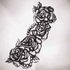 tattoo design- roses, pearls and diamonds