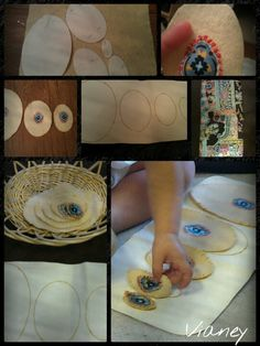 Homemade Montessori toddler big to little felt eggs on canvas guide. Outline of ovals on canvas hand-sewn.