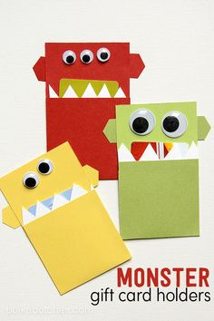 DIY Monster Gift Card Holder - great gift idea for kids this holiday season. Best?! They're perfect for when you want to send something in the mail.