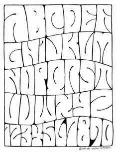 "No Space Alphabet by Wes Wilson. So called ""psychedelic lettering"". Graffiti Alphabet, Graffiti Lettering Fonts, Creative Lettering, Typography Fonts, Typeface Font, Wes Wilson, Letras Cool, Schrift Design, Alphabet Style"