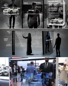 """A hidden """"Kinect"""" tracked the visitors´ eye to assure the content appears in a fitting perspective. Interface-elements connected to people´s virtual-bones allowed and playful navigation through several topics related to the car standing next by. New Bmw, The Visitors, Bmw X5, Ui Design, Perspective, Bones, Monitor, Content, Eye"""