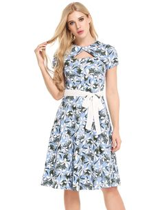 Vintage Styles Hollow Out Prints Pleated Hem Dress