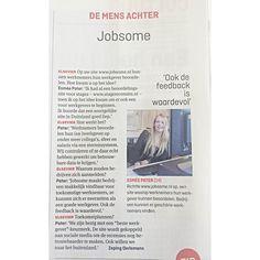 Artikel over Jobsome in de rubriek 'De mens achter' in de Elsevier. Vandaag in de winkel!