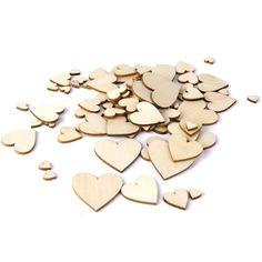 Lot de 200pcs 10-40mm Embellissement Forme de Coeur en Bois pour Artisanat Décoration de Mariage