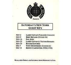 Ministry of Sound New York Guest DJs 1991