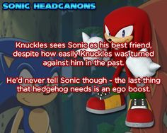☆ Sonic Headcanons ☆ I have to agree with Knuckles on that matter.