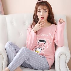 db02300ec4 2017 New Pajama Sets For Women Autumn Long Sleeve Cartoon Clothing Pyjama  Sleepwear Pajamas Homewear Lady
