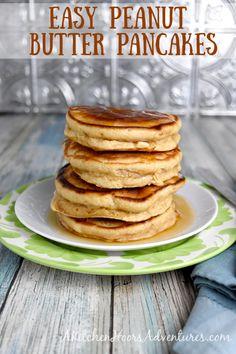 No Sugar Peanut Butter, Peanut Butter Pancakes, Peanut Butter Breakfast, Tasty Pancakes, Healthy Peanut Butter, Peanut Butter Fudge, Peanut Butter Toast Ideas, Pancakes Cinnamon, Pancakes For One