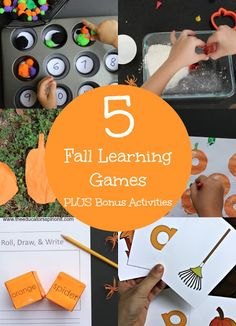 5 Fall Learning Games for Kids plus Bonus Fall Activity ideas as you explore Autumn, Halloween, Thanksgiving, Harvest and more
