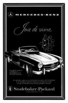 Mercedes Benz 190 SL Roadster Poster Studebaker Packard 300SL Vintage Image | eBay