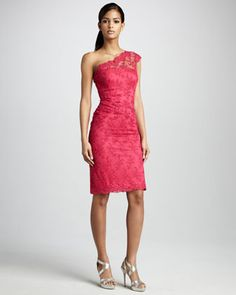 Bridesmaid One-Shoulder Lace Cocktail Dress by David Meister at Neiman Marcus.