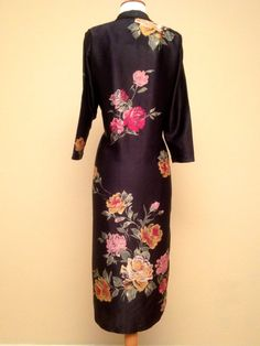 Fantastic Vintage Floral Robe Dress in Black with by TaraMiSioux Vintage  Lingerie c30bb1021