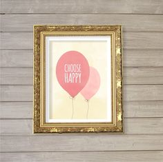 Choose Happy 8x10 - Instant Download, Balloon, Watercolor, Motivational Quote, Happiness Joy Printable Poster Home Decor Wall Room Art Print on Etsy, $5.12