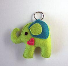 Elephant felt Keychain - Christmas gift - Animal Favor - Stocking Stuffer. $20.00, via Etsy.