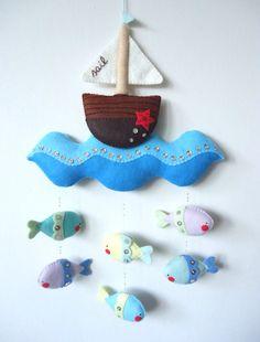 Feutrine baby babies boys crib mobile ship sailing blue ocean wave with fish hanging beneath ship February 2015