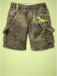 Embroidered camo cargo shorts...uber sute with pop of yellow dinosaur! I know a lil boy who would LOOOOVE these