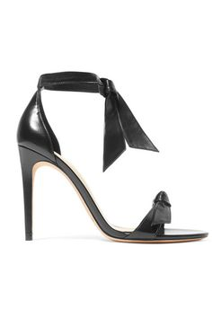 Heel measures approximately 4 inches White leather Ties at ankle Imported Bow Sandals, Black Sandals, Leather Sandals, Matthew Williamson, Miranda Kerr, Heidi Klum, Semi Formal Attire For Women, Carrie, Alexander Mcqueen