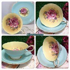Blue Paragon with large pink rose on yellow background inside the cup. #teacup #teacupcollector #teacupandsaucer #teacupandsaucerjakarta…