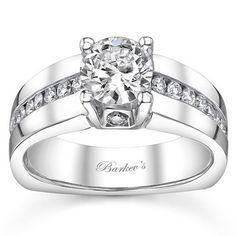 Barkev's 14K White Gold Round Cut Channel Set Diamond Engagement Ring Featuring 0.49 Carats Round Cut Diamonds. Style 6323L