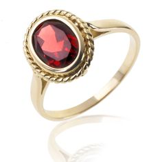 Bague Or jaune , Grenat