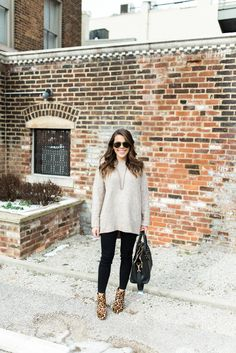 Winter Outfit Inspiration-- how to wear an oversized sweater // Ft. Leopard Booties, GiGi New York Tote Ray-Ban Aviators