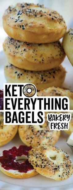 These perfectly seasoned low carb bagels are perfect for breakfast sandwiches! A great keto snack with NO ALMOND FLOUR!