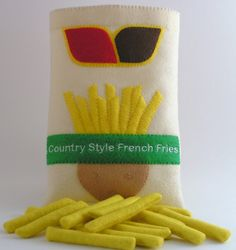 Felt Food Frozen French Fries WOOL BLEND by ThePixiePalace on Etsy