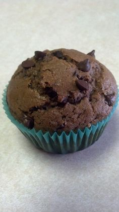 Homemade double chocolate chocolate chip muffin