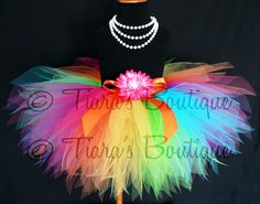 Girls Birthday Tutu - Rainbow Tutu - Custom Sewn 11'' Pixie Tutu - Aura - A Magical Rainbow Tutu -