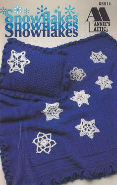 Snowflakes, Annie's Attic Crochet Pattern Booklet 8S014 Afghan Pillow Ornaments