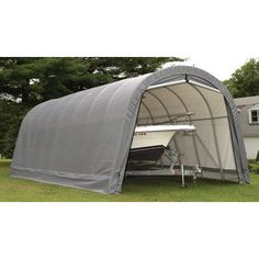 ShelterLogic 12 x 20 Round Style Canopy Carport > All-steel collapsible frame measuring 12W x 20D x 8H feet 1-piece, fitted, polyethylene cover Double-zippered door panels Check more at http://farmgardensuperstore.com/product/shelterlogic-12-x-20-round-style-canopy-carport/