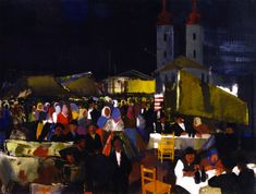 The Athenaeum - Figures in a Village Market (Vilmos Aba-Novák - circa Oil Painting Reproductions, Vintage Artwork, Old Master, Aba, Auction, Museum, Fine Art, Antiques, Canvas