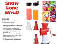 Make your own snow cones with our ice shaver blade Snow Cone Syrup, Snow Cones, Tupperware Consultant, Ice Shavers, Tupperware Recipes, Pressure Cooker Chicken, Icecream Bar, Pampered Chef, What To Cook