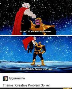 """I'm Thor."" - ""You're Thor?"" - ""Well it hurts. Marvel Universe, Marvel Dc Comics, Marvel Heroes, Funny Marvel Memes, Dc Memes, Marvel Jokes, The Avengers, Avengers Memes, Nananana Batman"