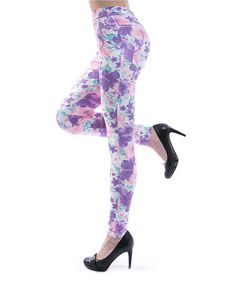 Loving this Purple & Pink Floral Jeggings on #zulily! #zulilyfinds
