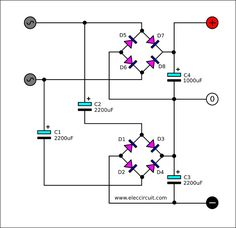 Dual DC power supply rectifier using 2 terminal transformer