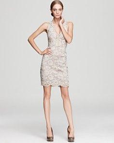 DKNY Sleeveless Lace V Neck Dress